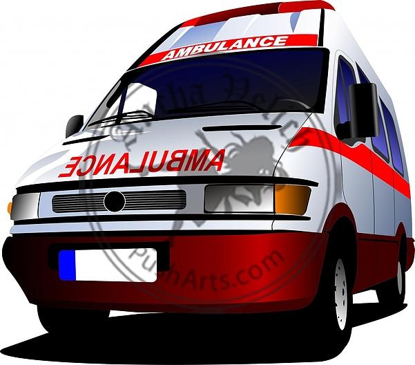 Modern ambulance van over white