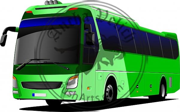 Green tourist bus. Coach. Vector illustration